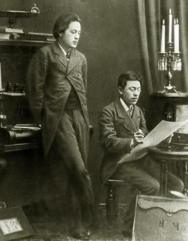 Антон Чехов с братом Николаем Чеховым. 1883 год.