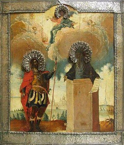 Икона «Святые Никита Стратилат и Никита столпник с видом Переславского Никитского монастыря», 18 век