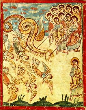 Миниатюра «Война Михаила и Ангелов с драконом»