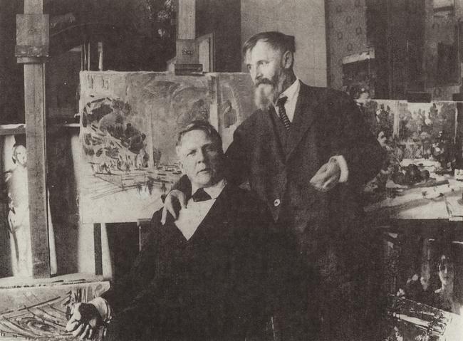 Ф.И.Шаляпин у К.А.Коровина в его парижской мастерской. 1930 год
