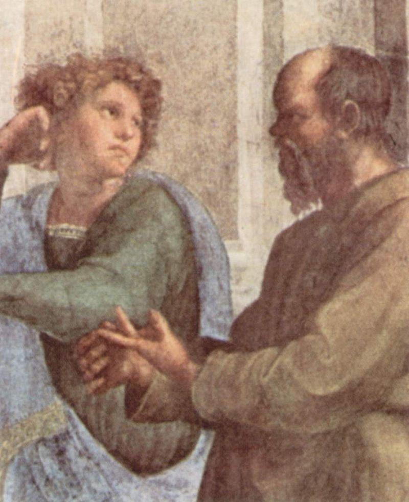 Сократ и молодой Эсхин (деталь фрески Рафаэля «Афинская школа» в Ватикане