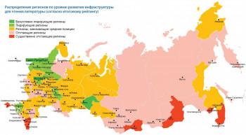 Распределение регионов по уровню развития инфраструктуры чтения
