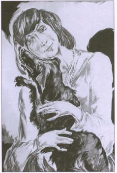 Л.Е. Фейнберг. Марина и Гайдан. Бумага, сангина. 1976