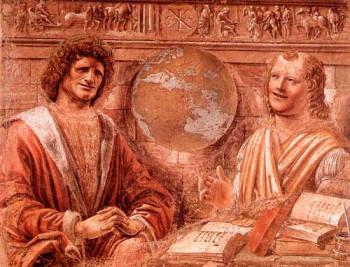 Плачущий Гераклит и смеющийся Демокрит. Итальянская фреска 1477 г.