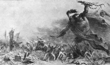 Французская гравюра середины XIX века, изображающая захват русскими Европы (заодно русские несут эпидемию холеры)
