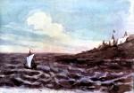 «Морской вид с парусом». Акварель Лермонтова, 1828—1832 гг.