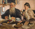 Илья Репин. Лев Николаевич Толстой и Софья Андреевна Толстая за столом
